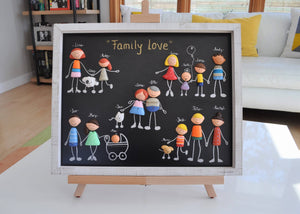 PERSONALIZED FAMILY PORTRAIT/ Original wall art/ Baby Shower/ Framed Family Portrait/ gift for wife girlfriend spouse-Anniversary