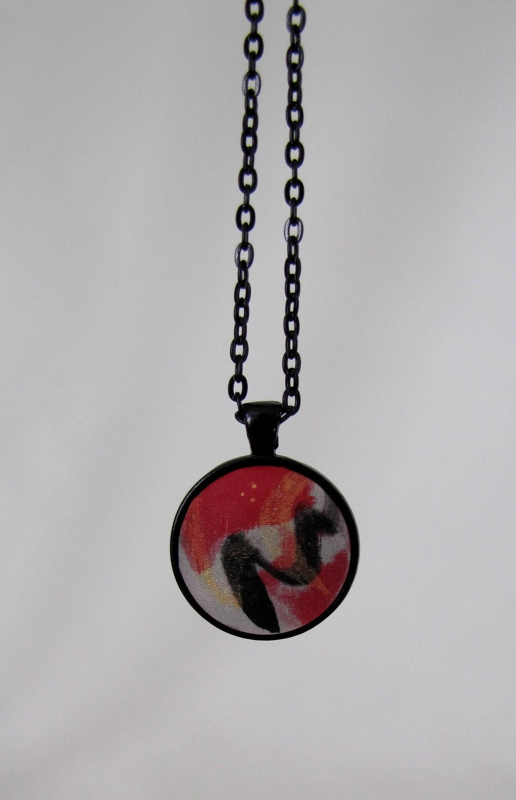 Silk Pendant Necklace, Black White Red Gold Hand-Painted, Unique Woman's Mother's Day Birthday Gift, Made in USA