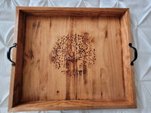 Load image into Gallery viewer, Tree of Life Wood Burned Oversized Ottoman, Bed, or Stove Tray - 25x22x2.5 - Handmade and Fully Finished