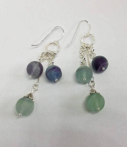 Fluorite and Sterling Silver Dangle Earrings