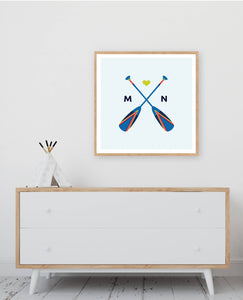 Minnesota Painted Oars Wall Art - Digital Print