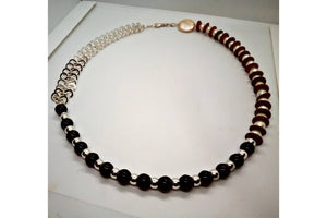 Garnet Gemstones, Fresh Water Pearls, Red Vintage Discs, and Sterling Silver Necklace