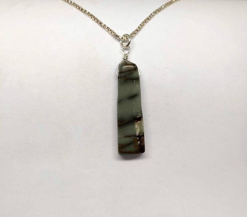 Jasper Spike Pendant Hand-Wrapped in Sterling Silver