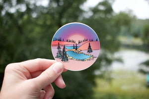 Pink Sunset Hills Sticker