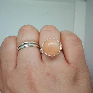 Sterling Silver and Jade Gemstone Wire Wrapped Ring