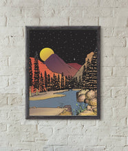 Load image into Gallery viewer, Mountains in the Moonlight Art Print