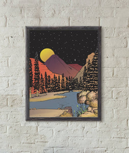 Mountains in the Moonlight Art Print