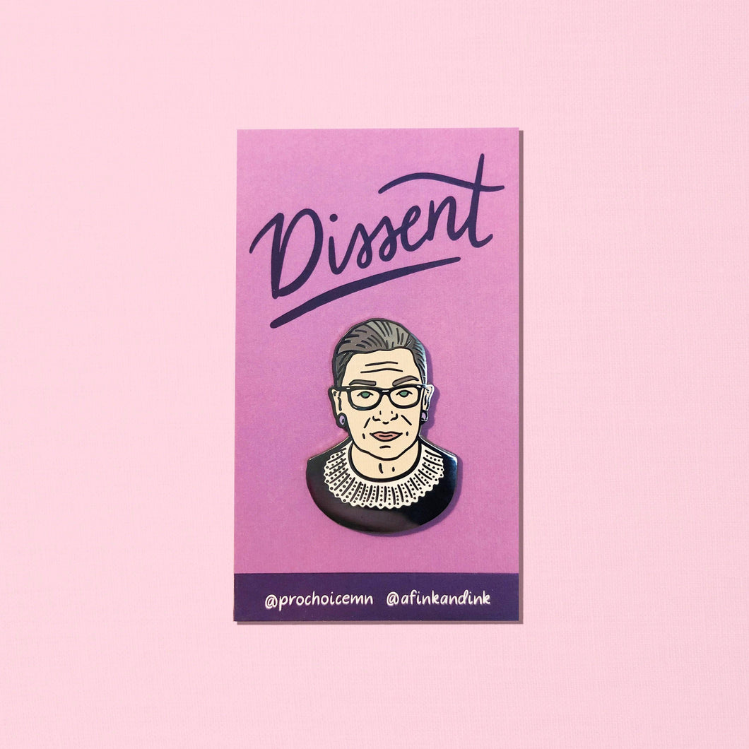 "RBG Dissent Pin - Hard Enamel Lapel Pins - 1.5"" - Black - White - Supreme - Feminism - Feminist - Woman's Rights - Ruth Bader Ginsburg"