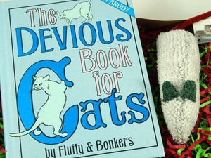 Devious Book for Cats, Gift Box Combo with darn!socks Toy, Pet Pamperer Gift, Cat Lover Gift, Eco-friendly Pet Toys