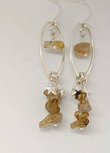 Sterling Silver Dangle Earrings with Golden Rutilated Quartz and Stars