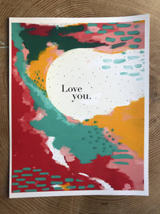 Love You abstract painting print