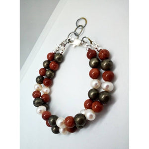 Unisex Gemstone Beaded Bracelet with Sterling Silver
