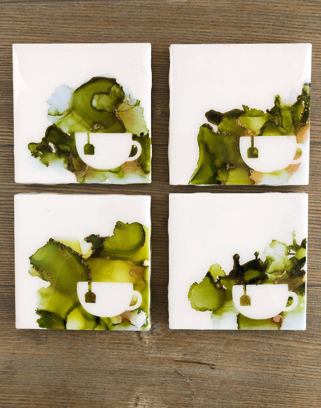 Cup of Green Tea Coasters Square Alcohol Ink Green Copper