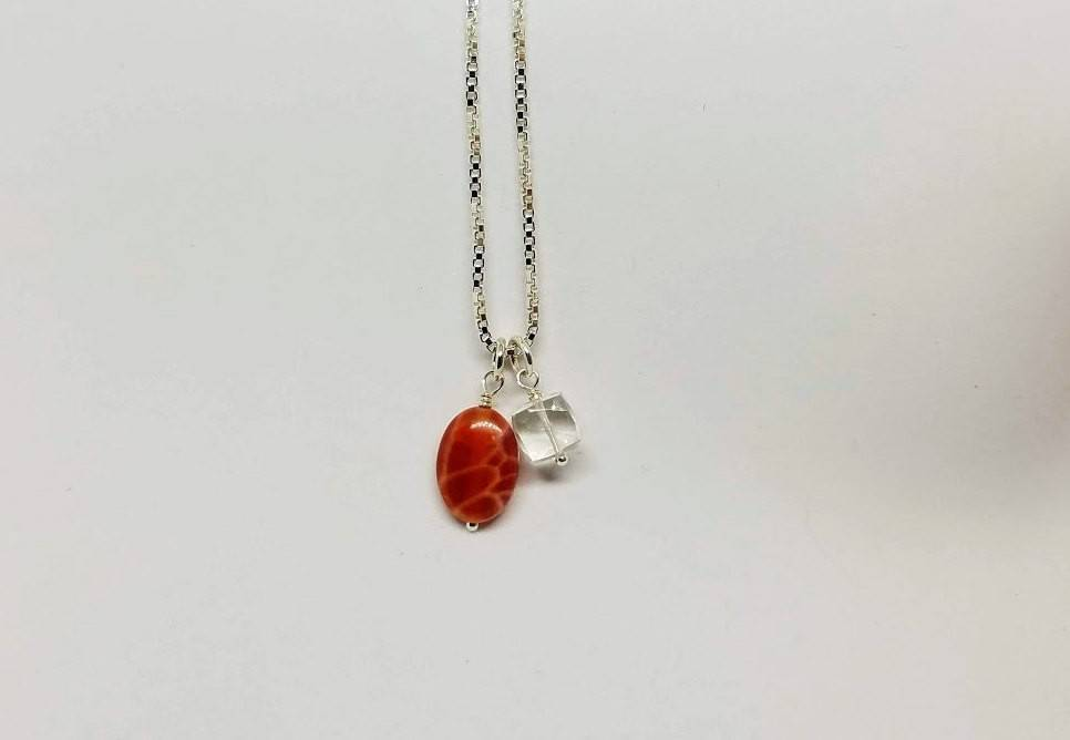 Ice and Fire Charm Necklace - Fire Agate, Crystal Quartz and Sterling Silver