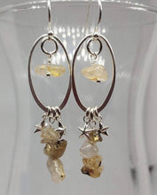 Load image into Gallery viewer, Sterling Silver Dangle Earrings with Golden Rutilated Quartz and Stars