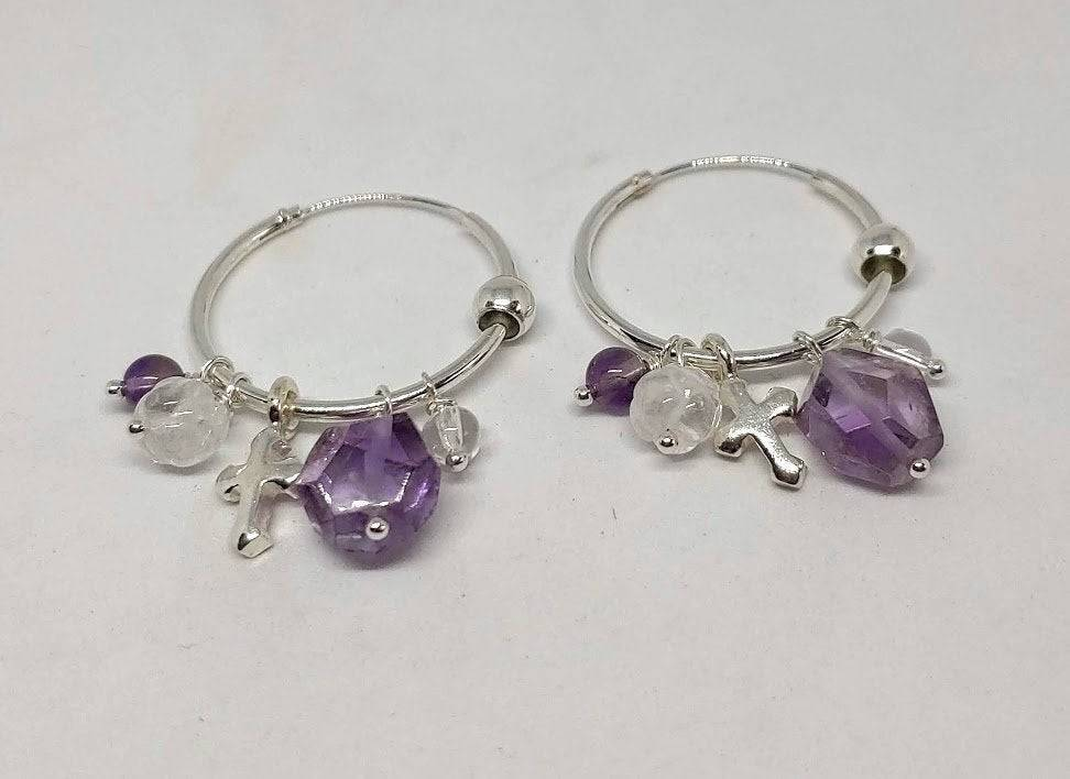 Natural Amethyst and Clear Quartz with Sterling Silver Cross ~ Hoop Earrings