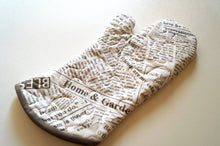 Load image into Gallery viewer, Quilted Fabric Oven Mitt with Grey Newsprint Pattern, Modern Kitchen Linens
