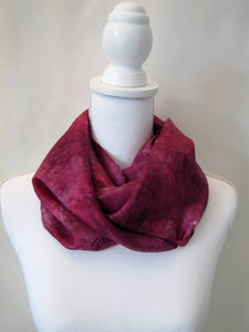 Raspberry Red Silk Scarf, Handpainted One-of-a-Kind Woman's Shawl Mother's Day Gift Made in USA