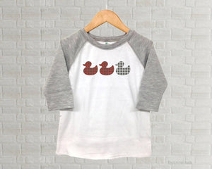 Duck Duck Gray Duck Youth Raglan Shirt  - Toddler Buffalo Plaid