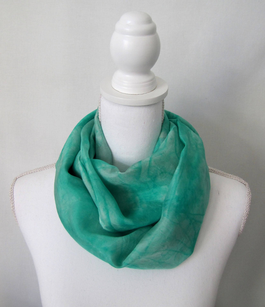 Mint Aqua Blue Silk Scarf, Seafoam Handpainted One-of-a-Kind Woman's Gift Shawl Made in USA