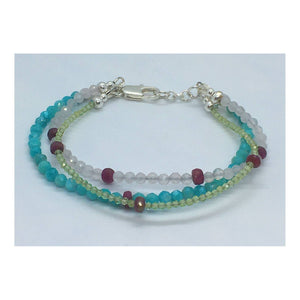 Natural Gemstone Beaded 3 Layer Bracelet with Sterling Silver, Ruby, Peridot, Amazonite, and Rose Quartz