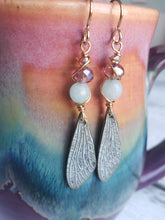 Load image into Gallery viewer, Powder blue butterfly wing and apatite stone dangle earrings aqua gold brass nickel free hypoallergenic- READY TO SHIP