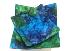 Load image into Gallery viewer, Microwave Bowl Cozy with Blue Green Marbled Hand Dyed Batik Fabric, Large or Regular Size