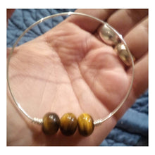 Load image into Gallery viewer, 18 Gauge Sterling Silver Slim Bangle With Large Tigers Eye Gemstone Dangle Rondelle Focal Beads