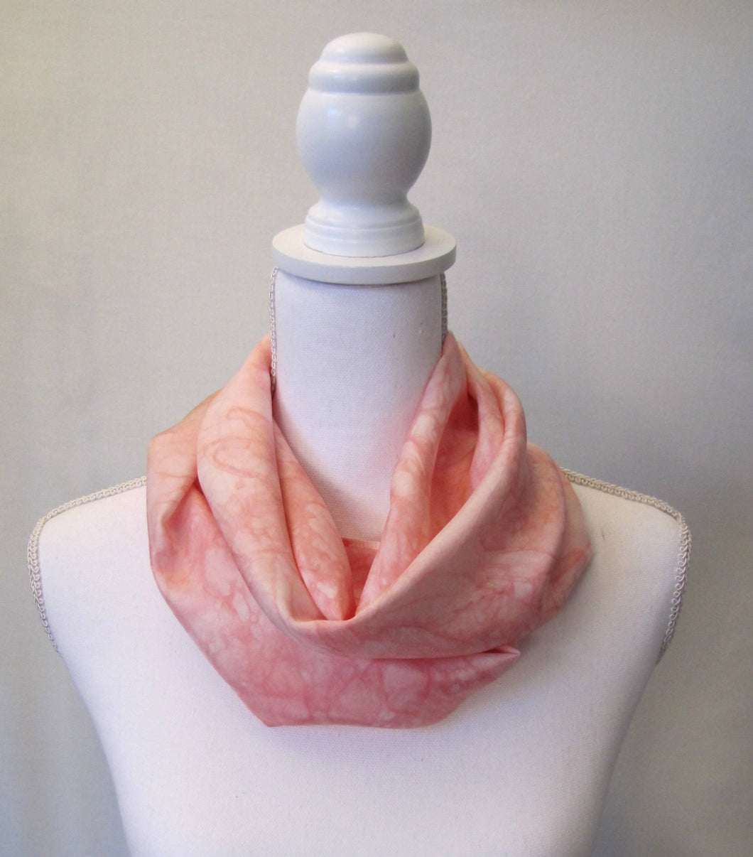 Peach Silk Scarf, Handpainted One-of-a-Kind Pink Shawl Habotai Woman's Gift Made in USA