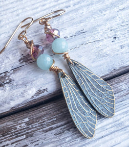 Powder blue butterfly wing and apatite stone dangle earrings aqua gold brass nickel free hypoallergenic- READY TO SHIP