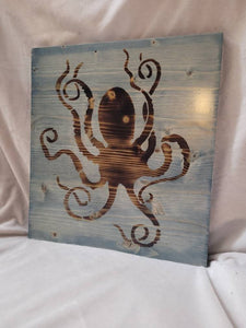 Burned Wood Octopus Sign - Stained Worn Navy- 12x11 inches - Fully Finished and Ready to Hang