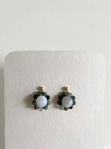 Brittany Large Dangle in Blue Crackle Agate Green Jasper 18K Plated Gold Handmade Daisy Chain Earrings