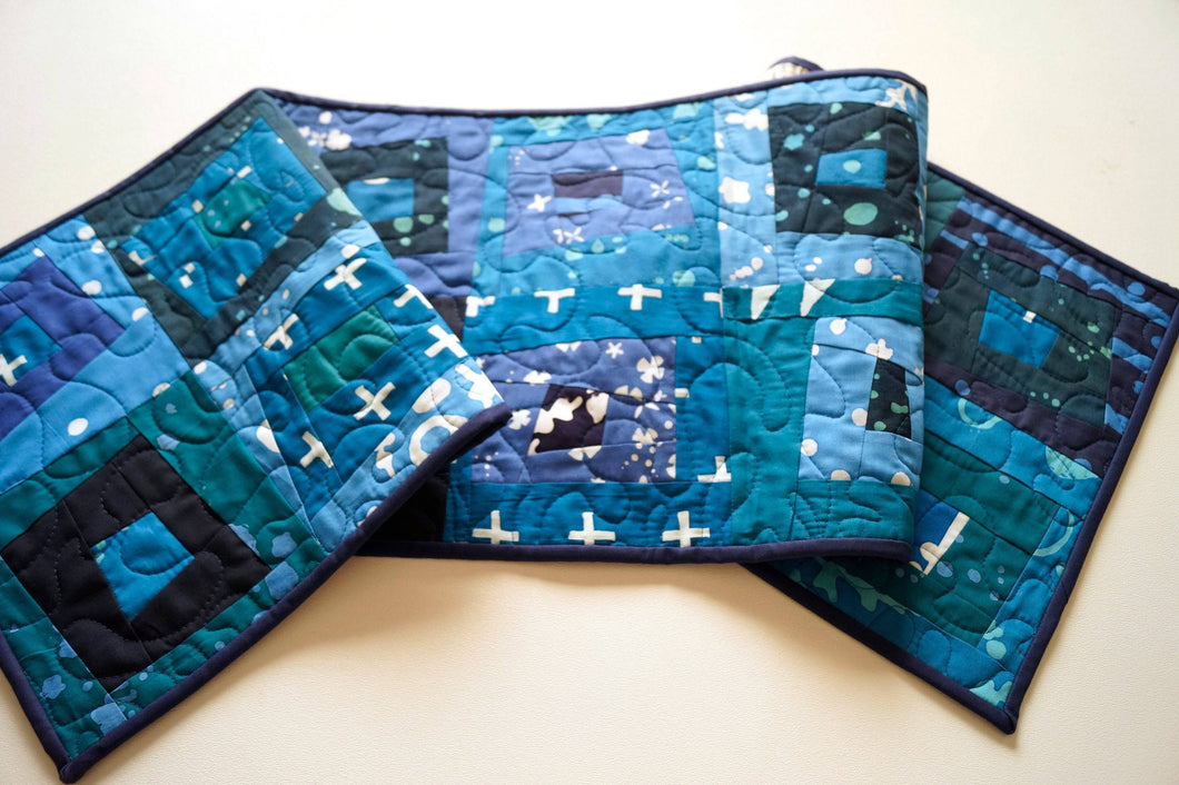 Blue Batik Quilted Fabric Patchwork Table Runner, Tropical Triangle Pattern Wall Hanging