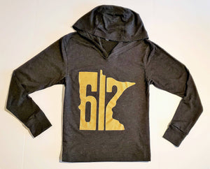 612 First Ave Edition Hoodie- Vintage Black/Metallic Gold