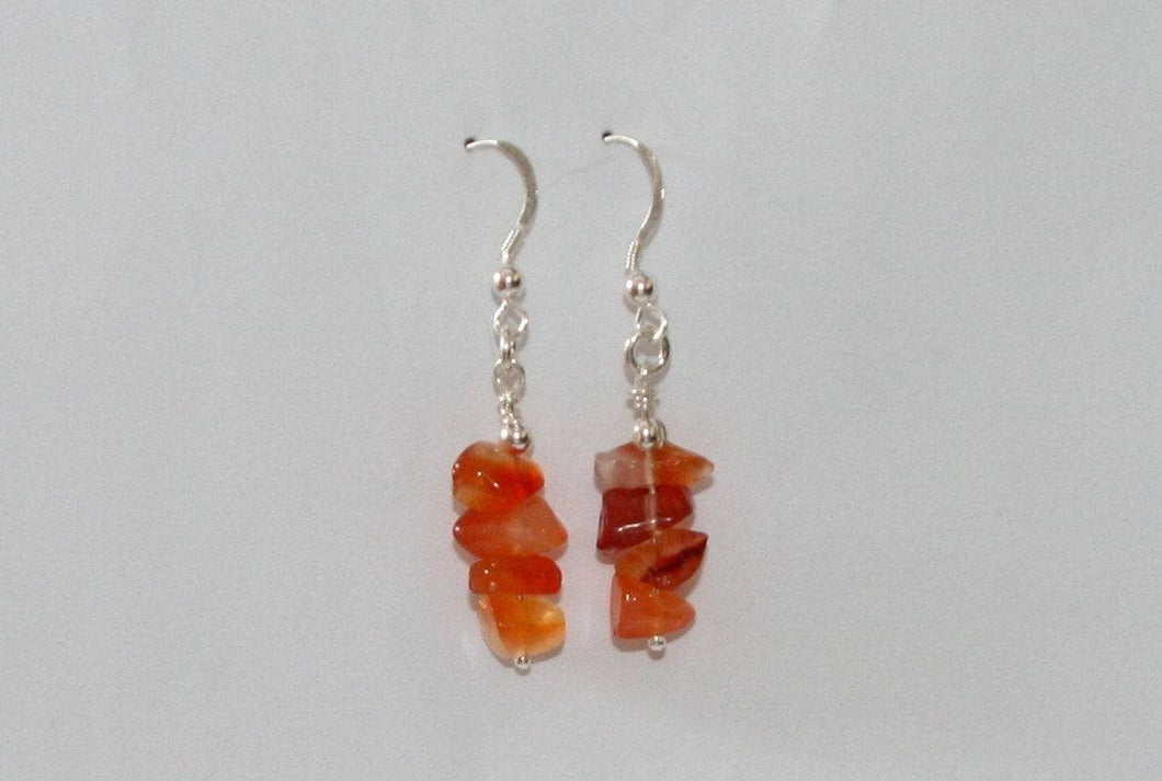 Carnelian and Sterling Silver Dangle Earrings