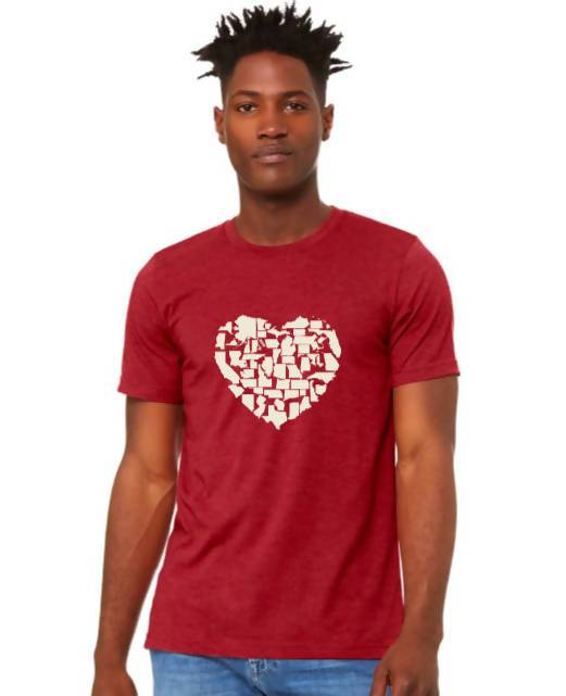 Better Together - 50 State Icons Heart Design Shirt (Heather Red)