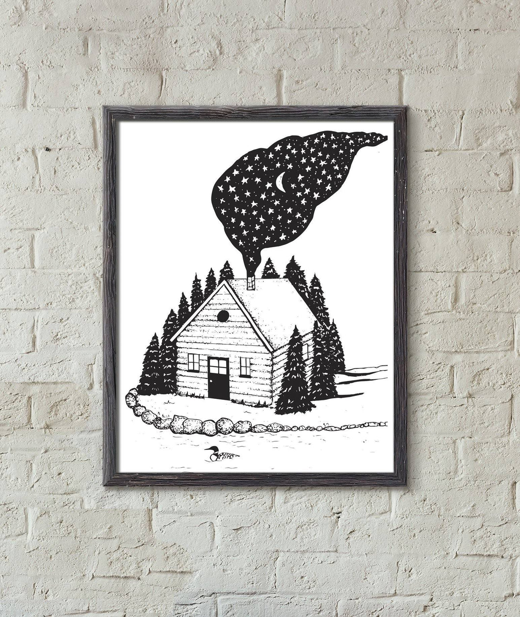 Cabin in the Woods Black and White Art Print