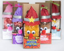 Load image into Gallery viewer, Teaching is your SuperPower! Peepers Mason Jar Craft Kit 3-pack