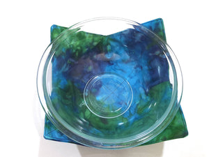 Microwave Bowl Cozy with Blue Green Marbled Hand Dyed Batik Fabric, Large or Regular Size