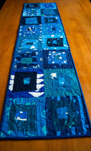 Load image into Gallery viewer, Blue Batik Quilted Fabric Patchwork Table Runner, Tropical Triangle Pattern Wall Hanging