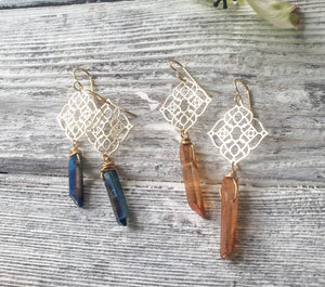 Quartz Crystal Point and Gold Filigree Earrings, Cobalt Blue Crystal Filligree Dangle Earrings, Nickel Free Hypoallergenic, READY TO SHIP