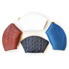 Load image into Gallery viewer, Blue leather wallet / women's wallet or card case in crocodile embossed leather
