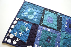 Modern Batik Quilted Fabric Patchwork Table Runner, Shades of Blue Cloth Wall Hanging