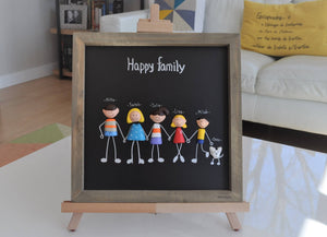 PERSONALIZED FAMILY PORTRAIT- Framed family portrait- Baby Shower-Anniversary-Wedding-Engagement-Baptism-Birthday