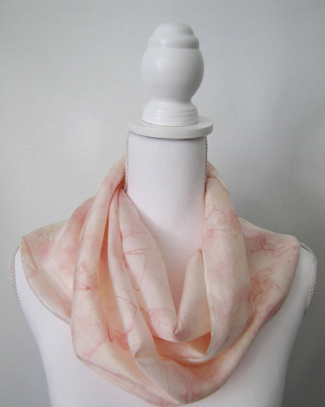 Silk Scarf, Cream Peach Pink Handpainted One-of-a-Kind Shawl, Habotai Woman's Gift Made in USA