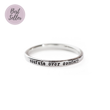 Load image into Gallery viewer, Courage Over Comfort - Tiny Message Ring in Sterling Silver