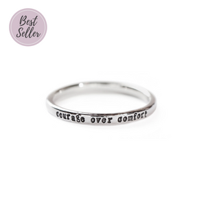 Courage Over Comfort - Tiny Message Ring in Sterling Silver