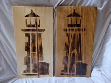 Load image into Gallery viewer, Wood Burned Lighthouse 9x18 in Wood Sign - Fully Finished and Ready to Hang - Two Colors Available