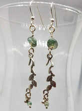 Load image into Gallery viewer, Moss Agate and Sterling Silver Leaves - Dangle Earrings