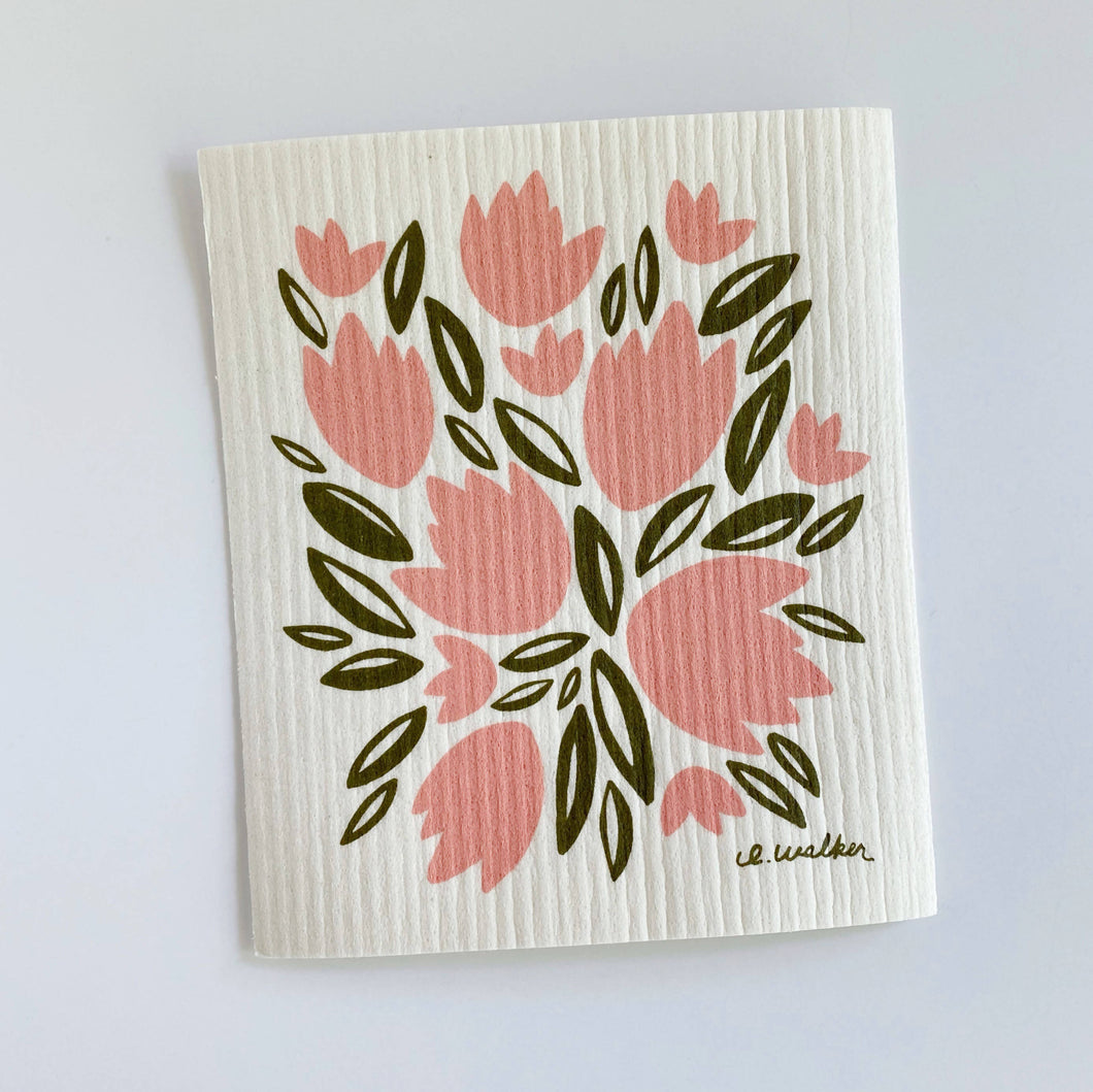 Pink Tulips // Swedish Dishcloth